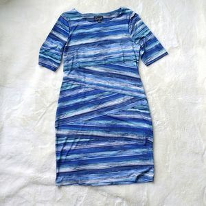Connected Apparel Jersey Blue Striped Dress 10
